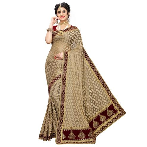 Blooming Brown-Maroon Colored Partywear Embroidered Jacquard Saree