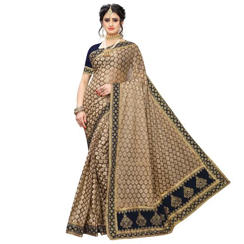 Charming Brown-Navy Blue Colored Partywear Embroidered Jacquard Saree