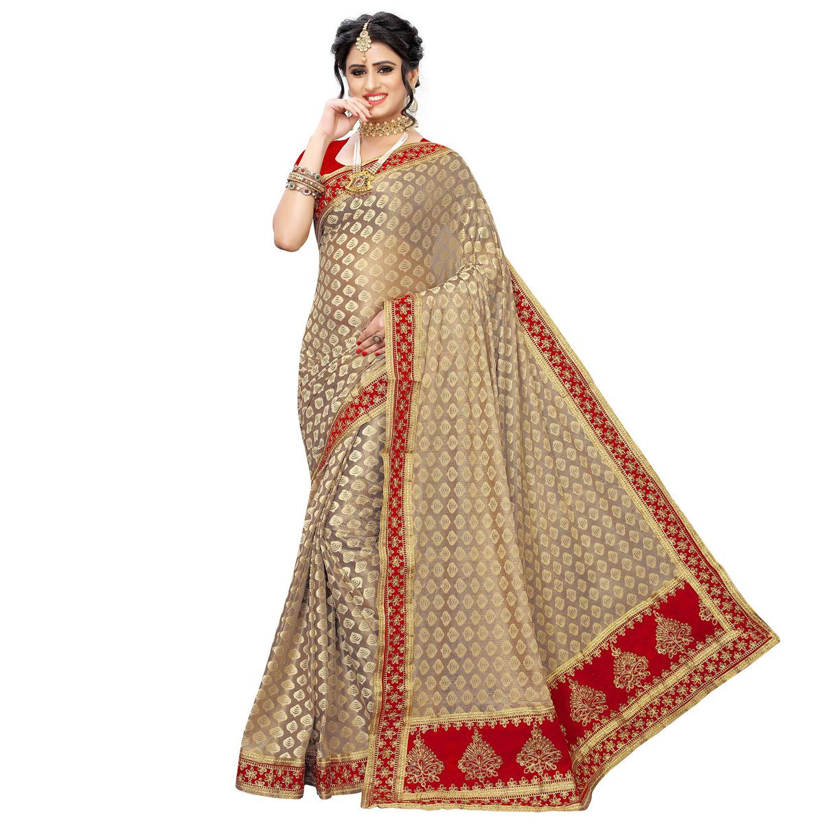 Jazzy Brown-Red Colored Partywear Embroidered Jacquard Saree
