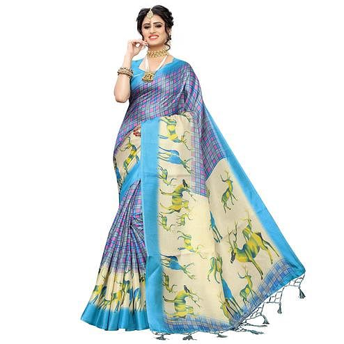 Delightful Blue Colored Casual Printed Art Silk Saree With Tassels