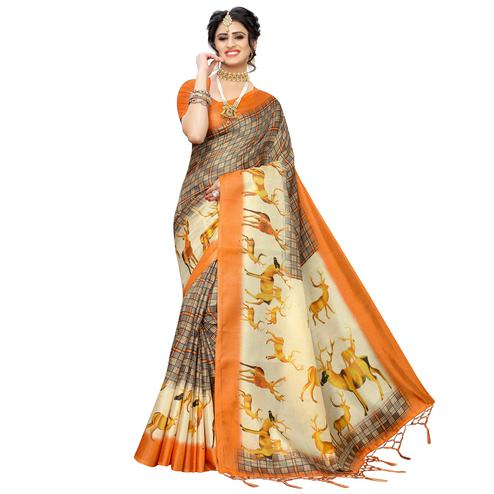 Engrossing Grey-Orange Colored Casual Printed Art Silk Saree With Tassels