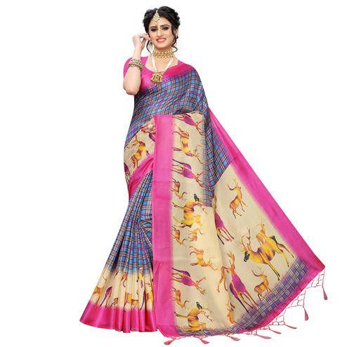 Captivating Blue-Pink Colored Casual Printed Art Silk Saree With Tassels