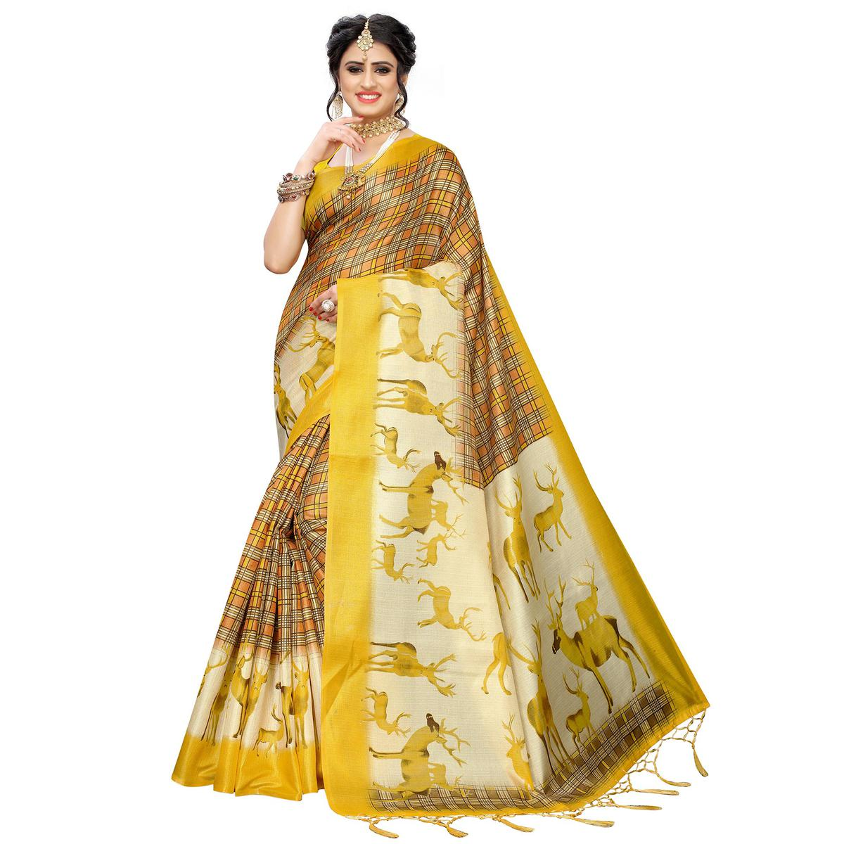 Innovative Yellow Colored Casual Printed Art Silk Saree With Tassels