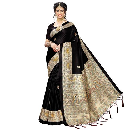 Eye-catching Black Colored Festive Wear Printed Art Silk Saree With Tassels