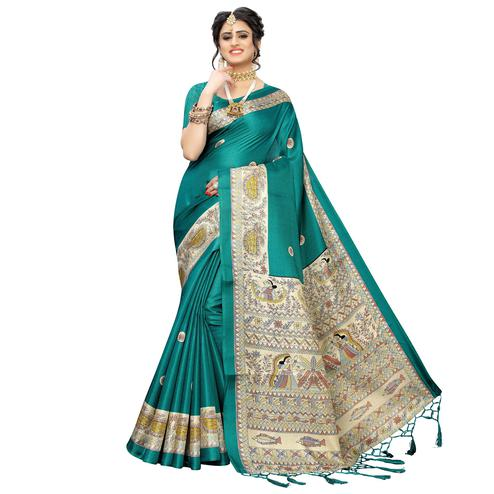 Amazing Rama Green Colored Festive Wear Printed Art Silk Saree With Tassels