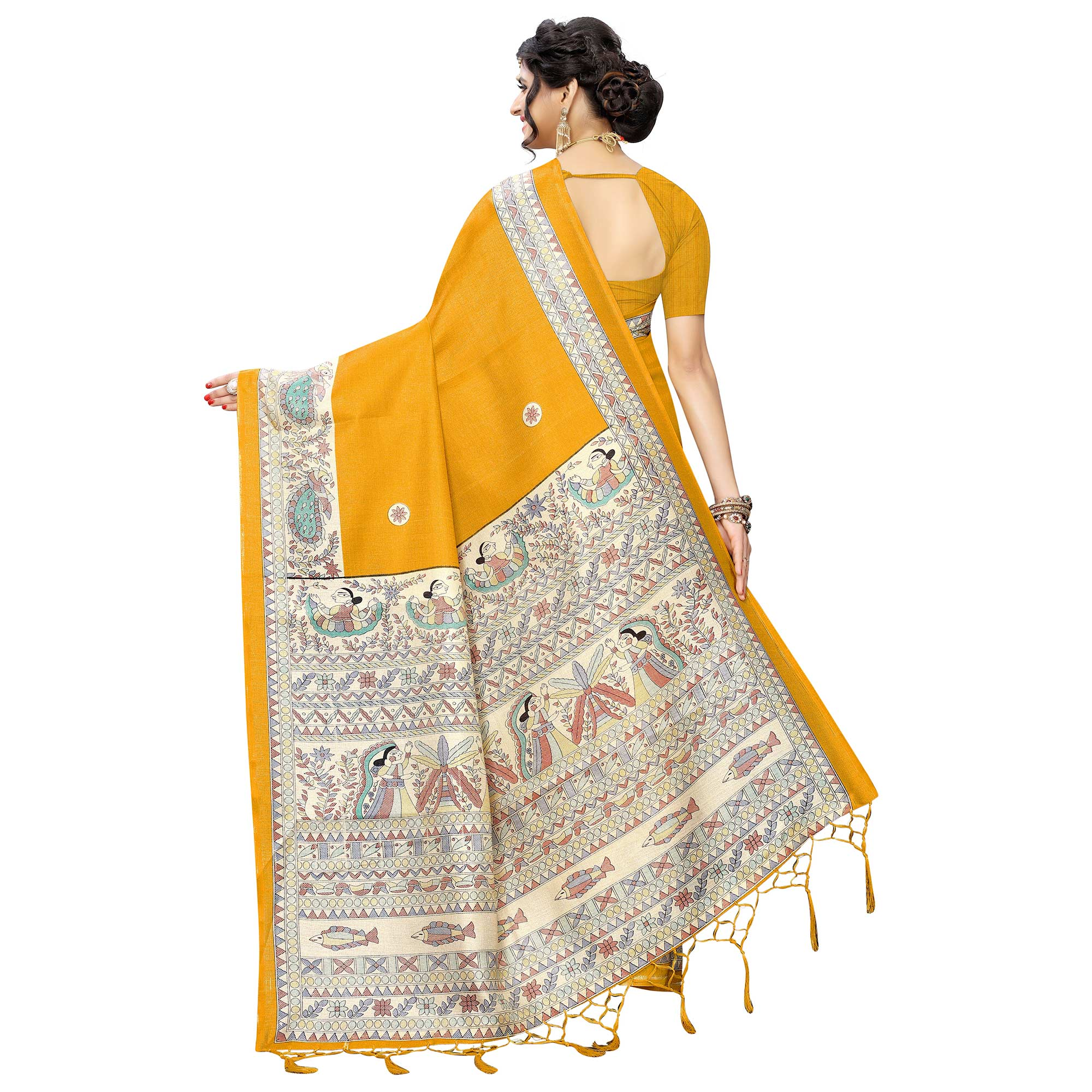 Gorgeous Mustard Yellow Colored Festive Wear Printed Art Silk Saree With Tassels