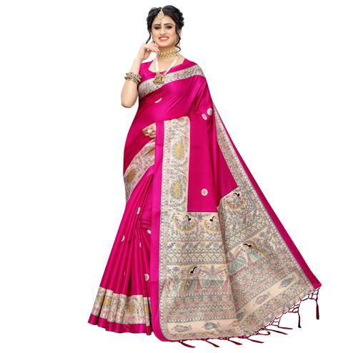 Blissful Pink Colored Festive Wear Printed Art Silk Saree With Tassels