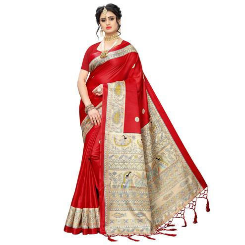 Ideal Red Colored Festive Wear Printed Art Silk Saree With Tassels