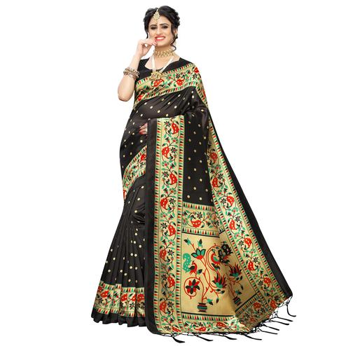 Imposing Black Colored Festive Wear Woven Art Silk Saree With Tassels