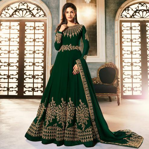 Glorious Dark Green Colored Partywear Embroidered Faux Georgette Abaya Style Anarkali Suit