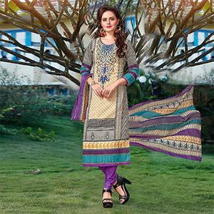 Multicolor - Purple Casual Wear Dress Material