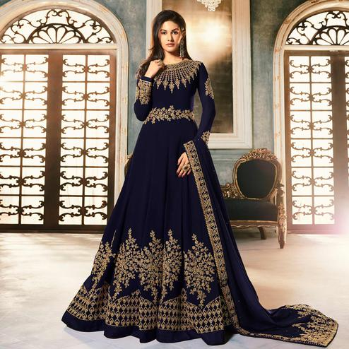 Attractive Navy Blue Colored Partywear Embroidered Faux Georgette Abaya Style Anarkali Suit