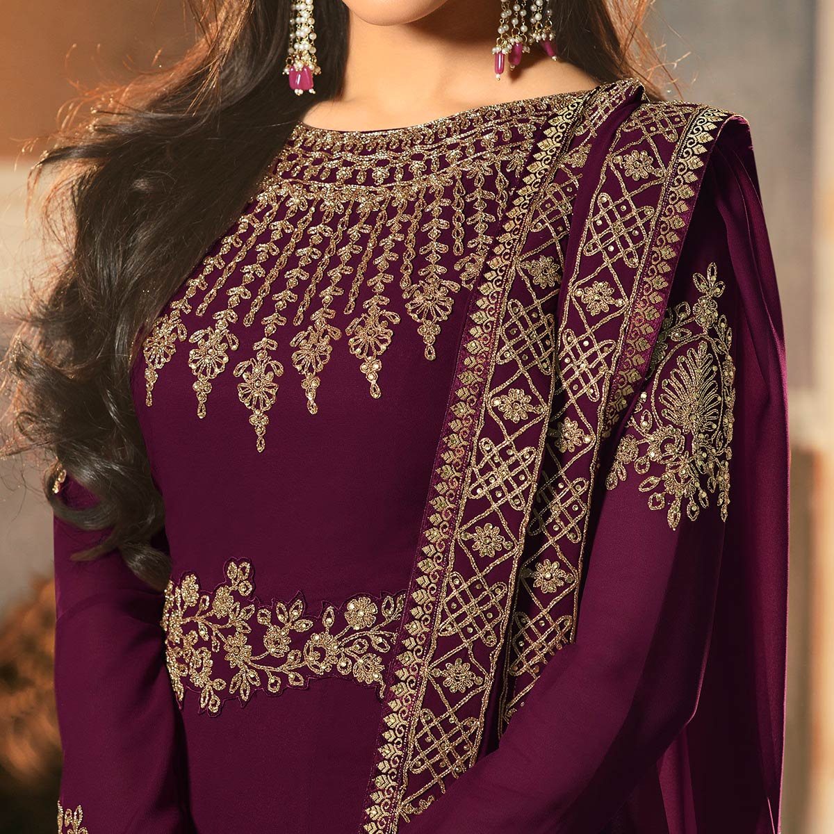 Blooming Wine Colored Partywear Embroidered Faux Georgette Abaya Style Anarkali Suit