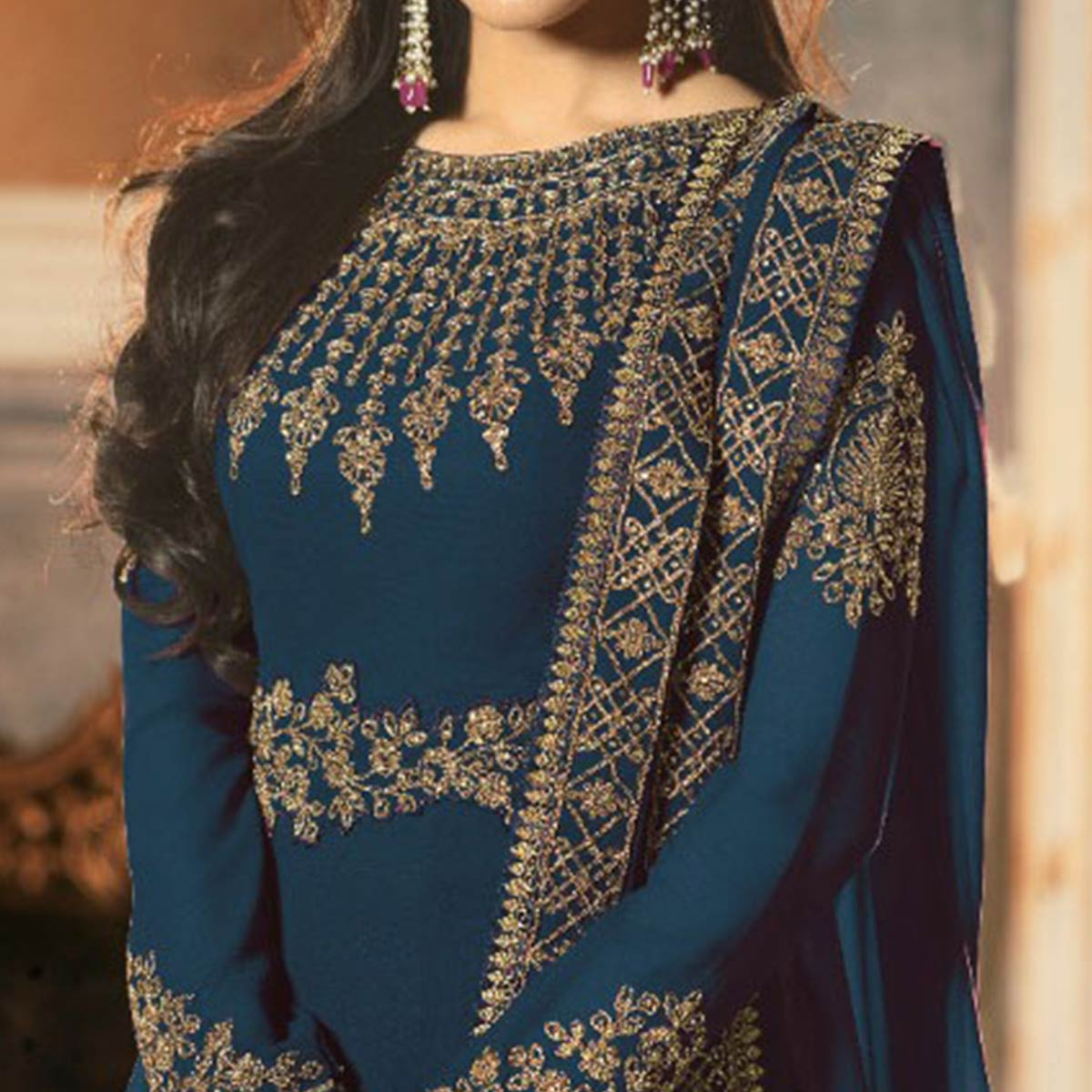 Energetic Blue Colored Partywear Embroidered Faux Georgette Abaya Style Anarkali Suit