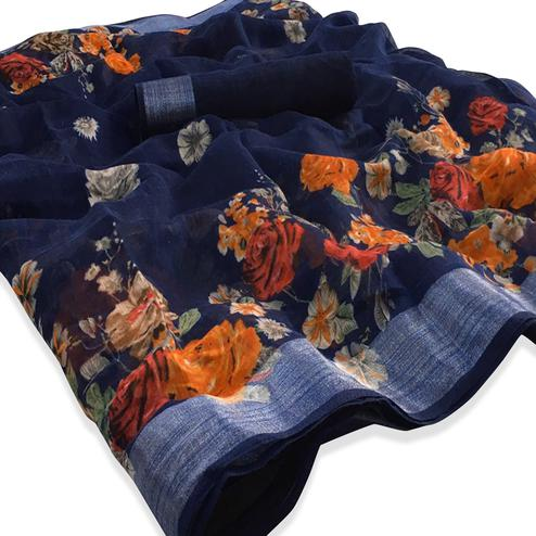 Glorious Navy Blue Colored Casual Floral Printed Linen Saree