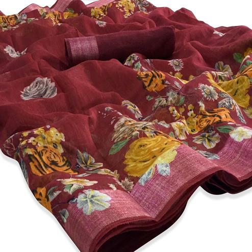 Attractive Maroon Colored Casual Floral Printed Linen Saree