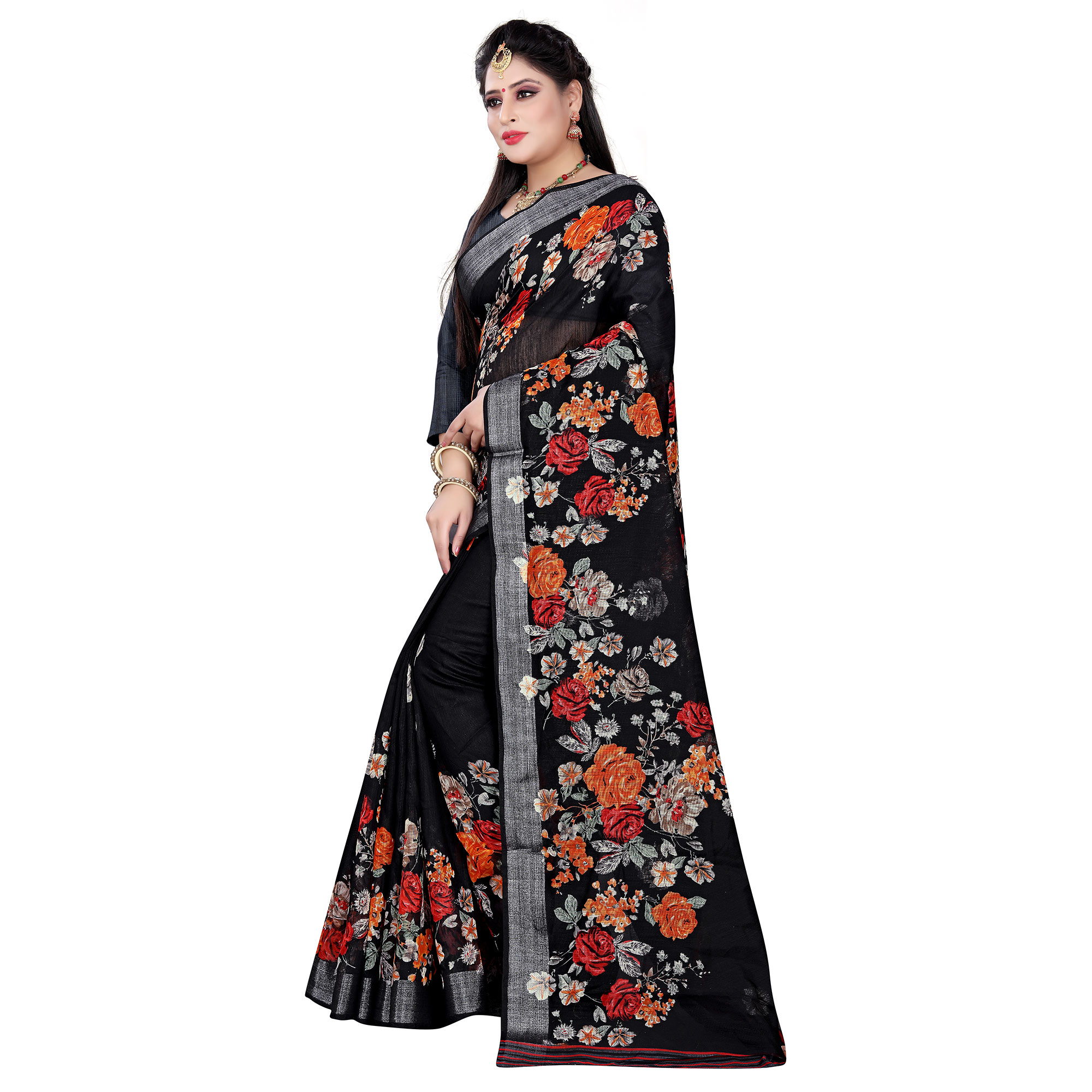 Beautiful Black Colored Casual Floral Printed Linen Saree