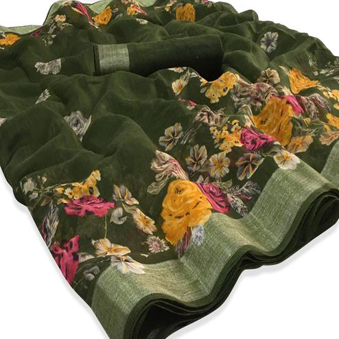 Graceful Green Colored Casual Floral Printed Linen Saree