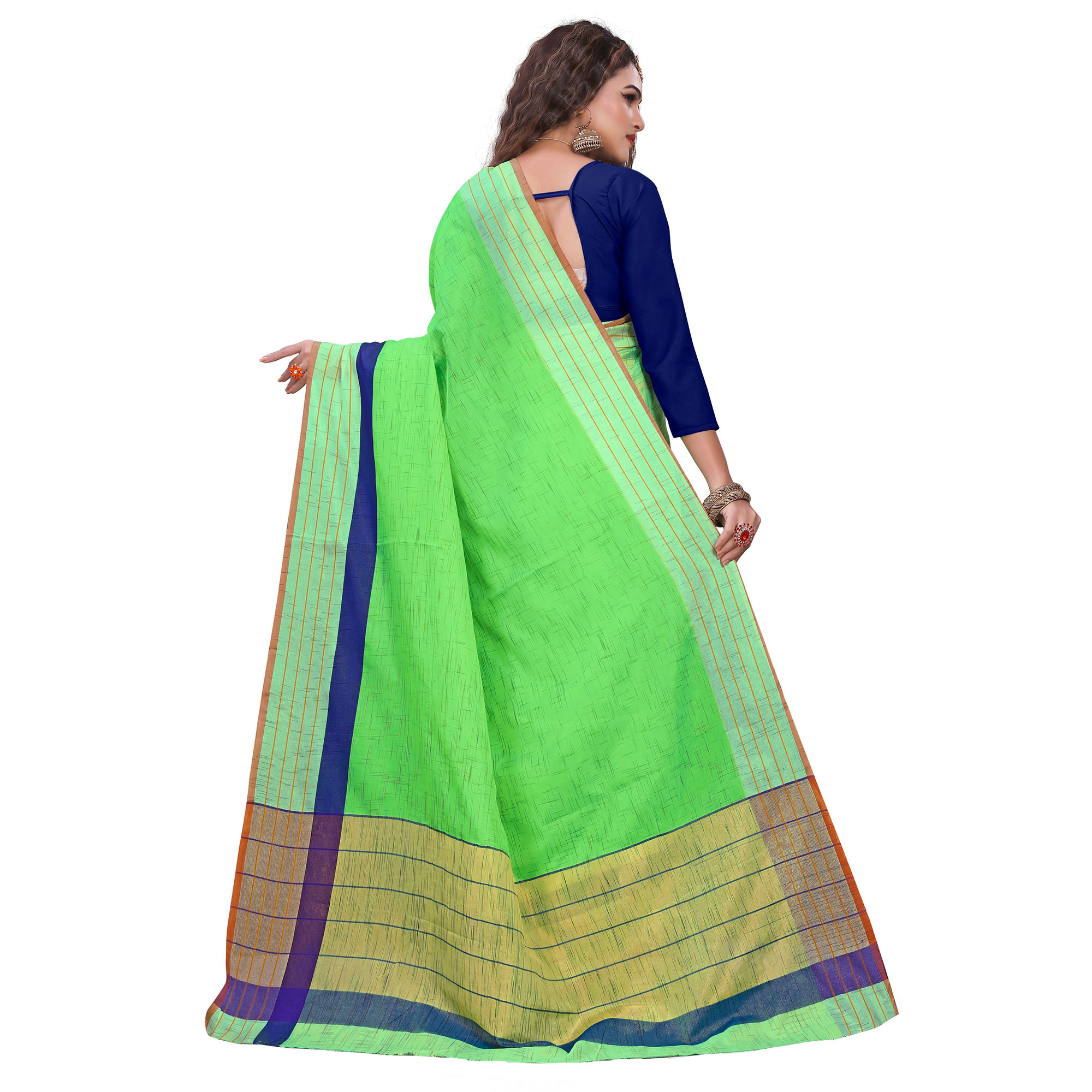 Classy Bright Green Colored Casual Printed Art Silk Saree