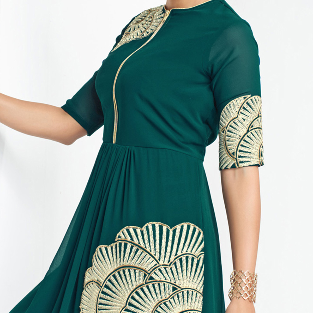 Bottle Green Embroidered Tunic