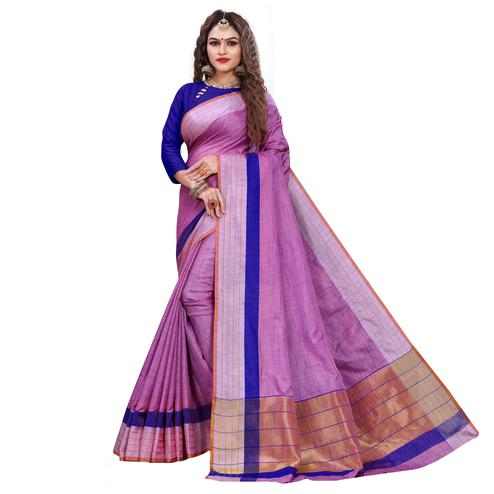 Attractive Purple Colored Casual Printed Art Silk Saree