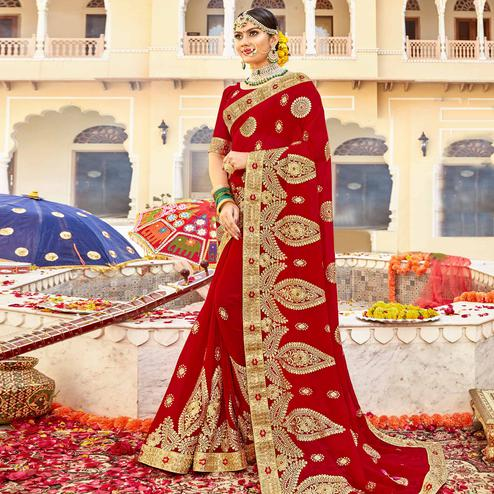 Demanding Red Colored Partywear Embroidered Georgette Saree