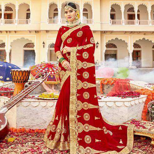 Hypnotic Red Colored Partywear Embroidered Georgette Saree