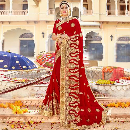 Flattering Red Colored Partywear Embroidered Georgette Saree