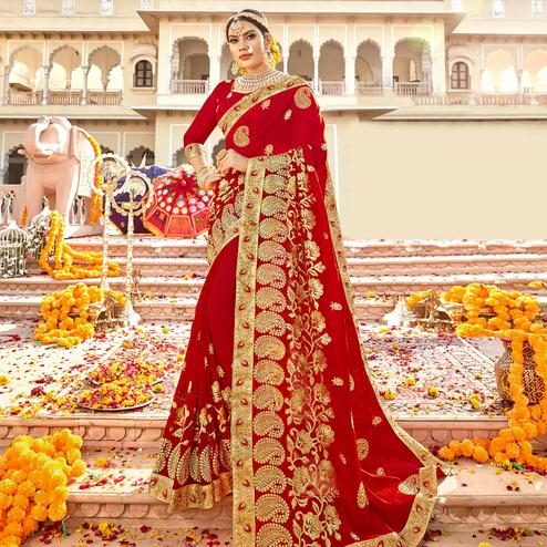 Excellent Red Colored Partywear Embroidered Georgette Saree