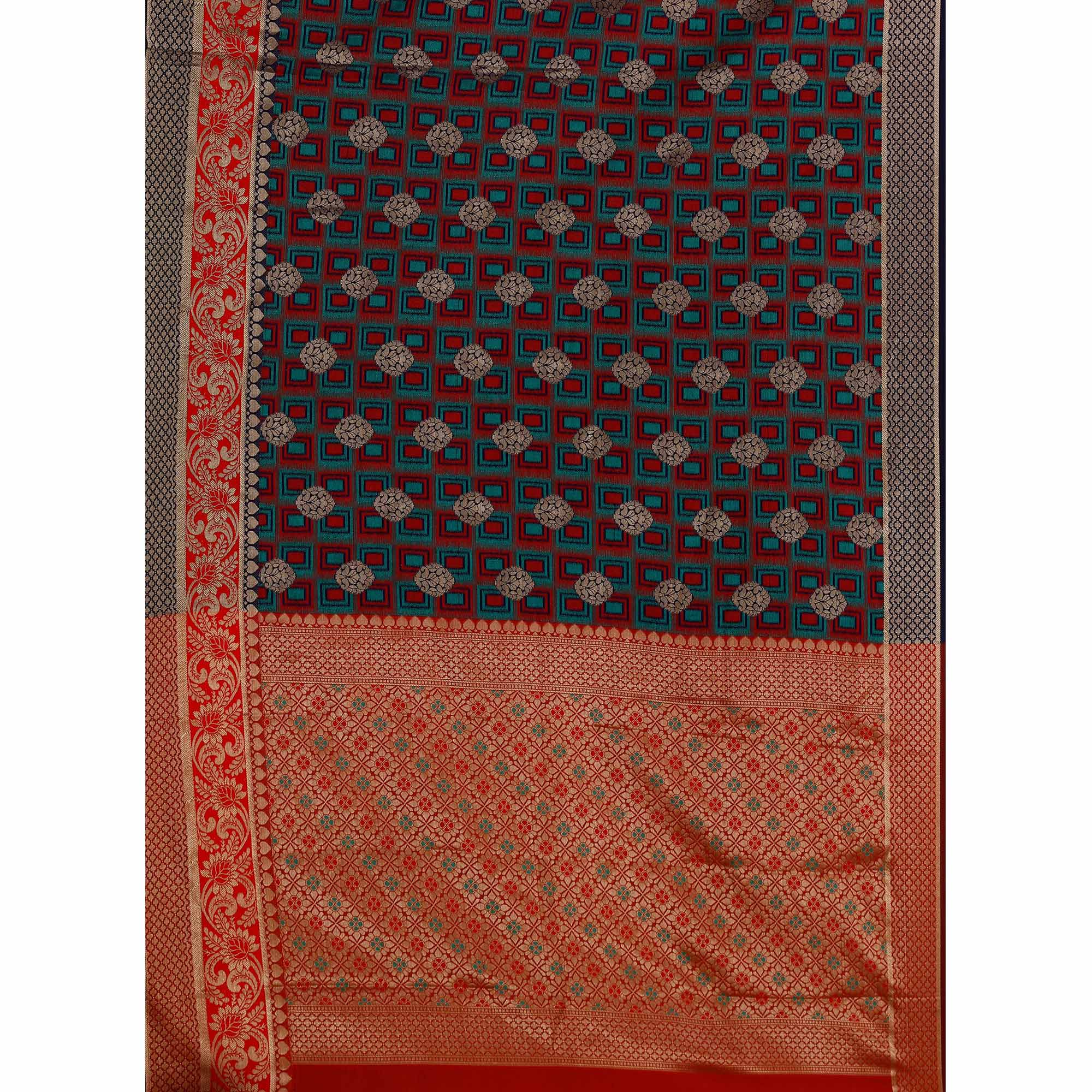 Glowing Navy Blue-Red Colored Festive Wear Woven Cotton Silk Jacquard Saree