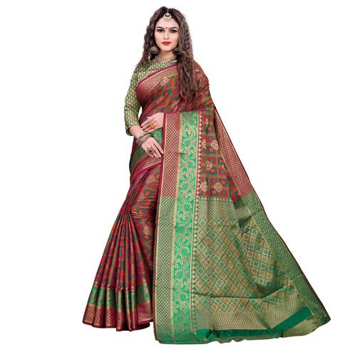 Exceptional Maroon-Green Colored Festive Wear Woven Cotton Silk Jacquard Saree