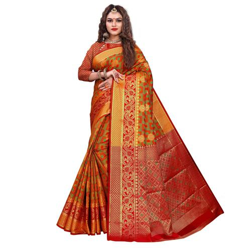 Gleaming Orange-Red Colored Festive Wear Woven Cotton Silk Jacquard Saree