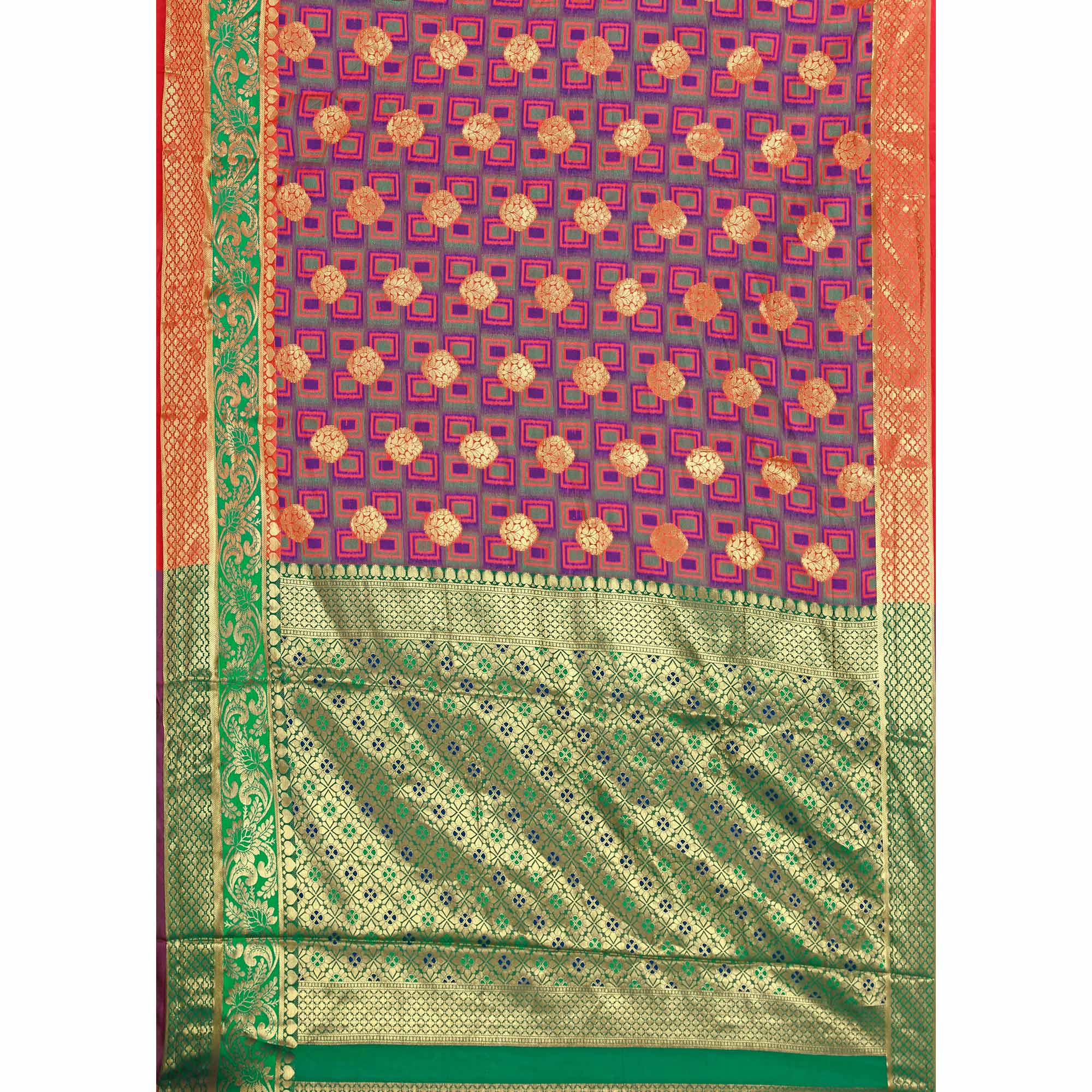 Unique Purple-Green Colored Festive Wear Woven Cotton Silk Jacquard Saree