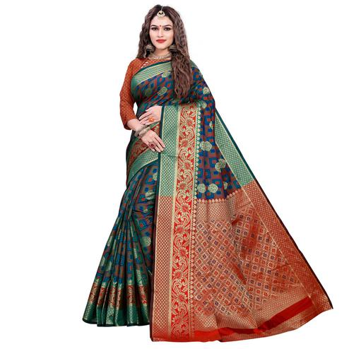 Demanding Turquoise Green-Green Colored Festive Wear Woven Cotton Silk Jacquard Saree