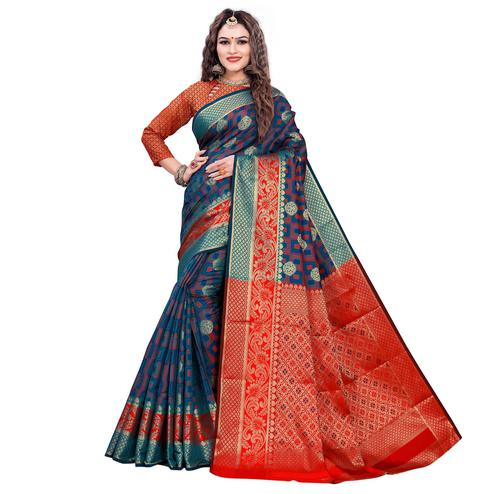 Refreshing Rama Blue-Red Colored Festive Wear Woven Cotton Silk Jacquard Saree