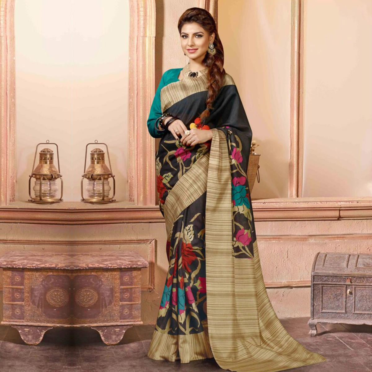 Black - Beige Printed Saree