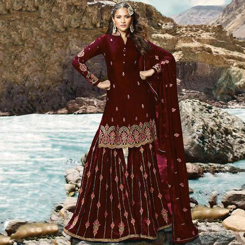 Entrancing Maroon Colored Partywear Embroidered Georgette Palazzo Suit