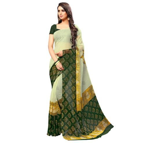 Intricate Light Yellow-Green Colored Casual Wear Printed Chiffon Saree