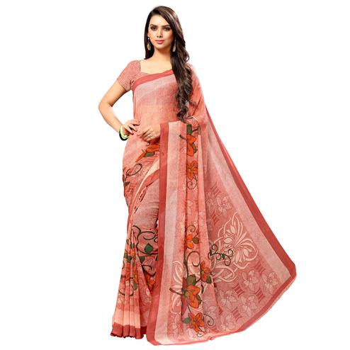 Gazzy Pink Colored Casual Wear Printed Chiffon Saree