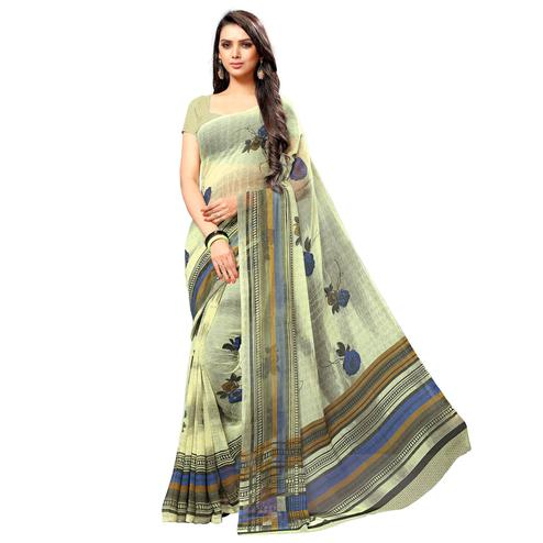 Arresting Light Yellow Colored Casual Wear Printed Chiffon Saree
