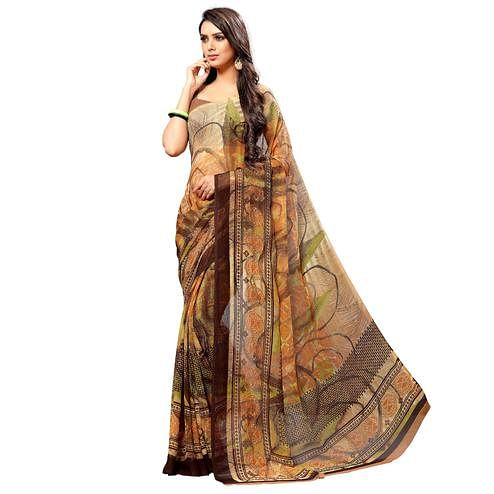 Desirable Brown Colored Casual Wear Printed Chiffon Saree