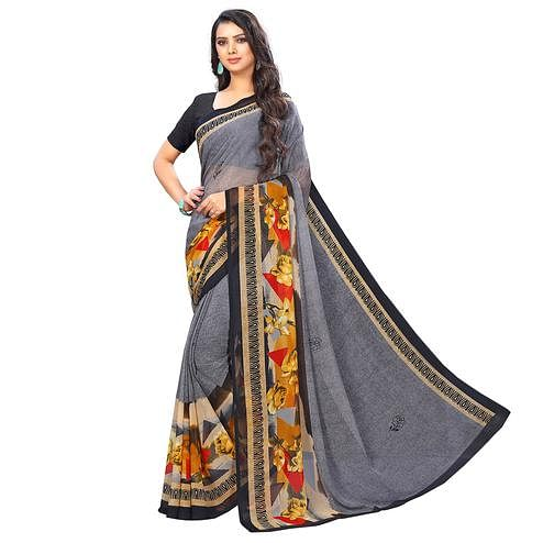 Trendy Grey Colored Casual Wear Printed Chiffon Saree