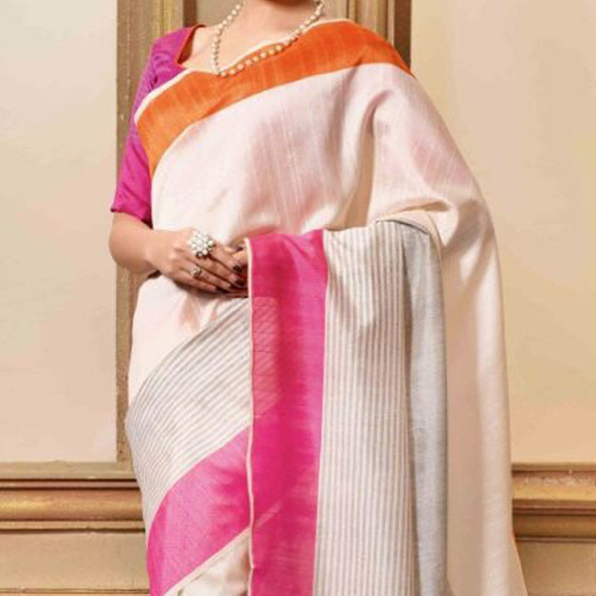 Off White Casual Wear Printed Saree