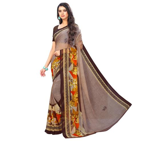 Elegant Light Brown Colored Casual Wear Printed Chiffon Saree