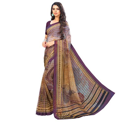 Radiant Brown-Purple Colored Casual Wear Printed Chiffon Saree