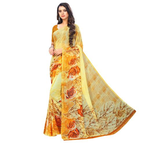 Pleasant Yellow Colored Casual Wear Printed Chiffon Saree