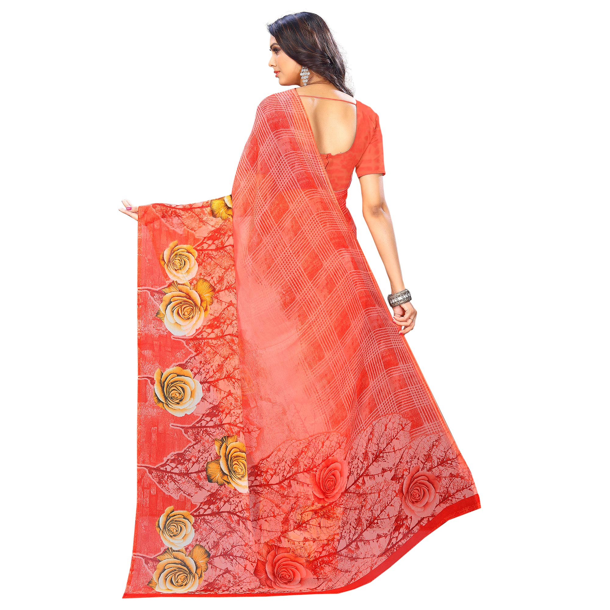 Opulent Coral Red Colored Casual Wear Printed Chiffon Saree