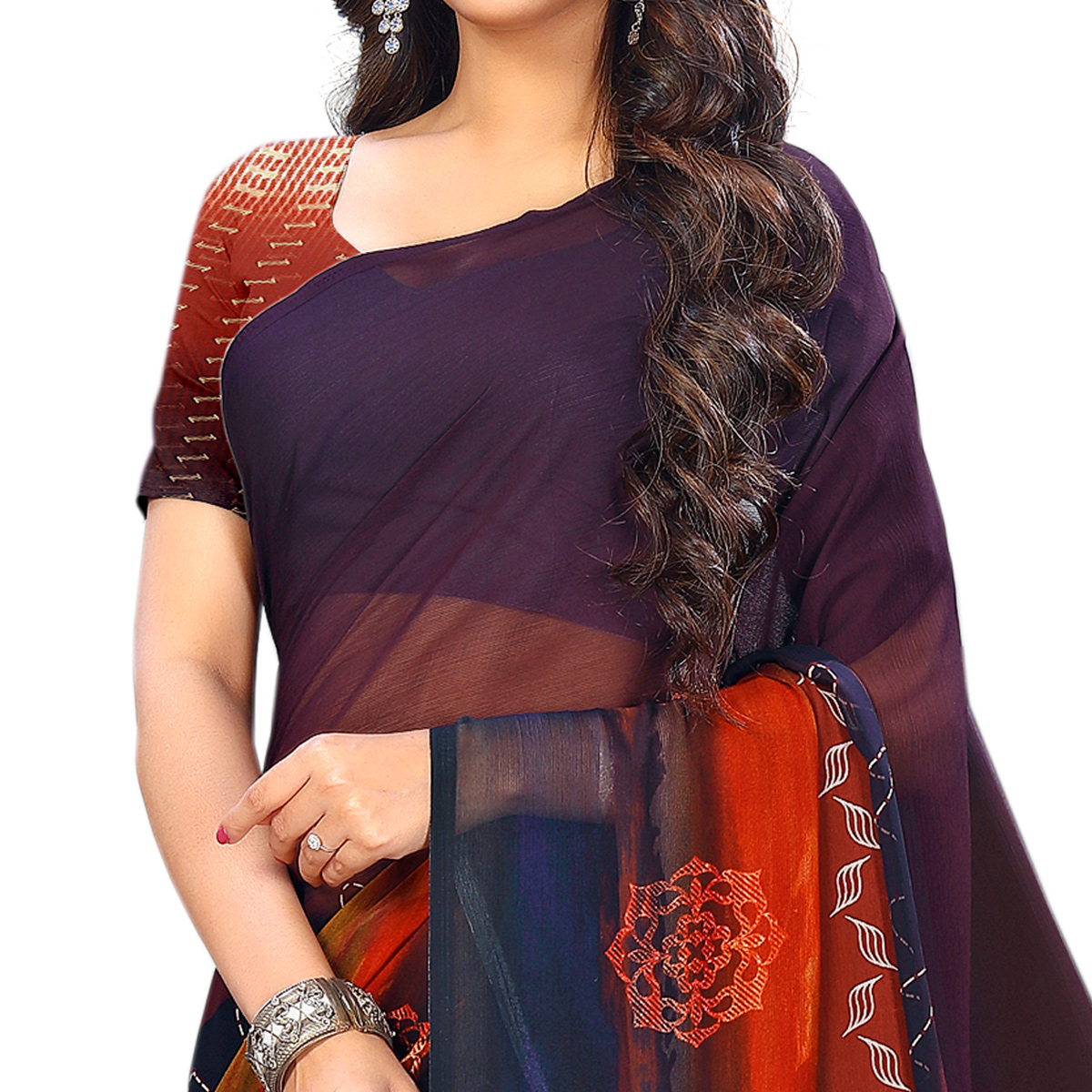 Exceptional Red-Multi Colored Casual Wear Printed Chiffon Saree