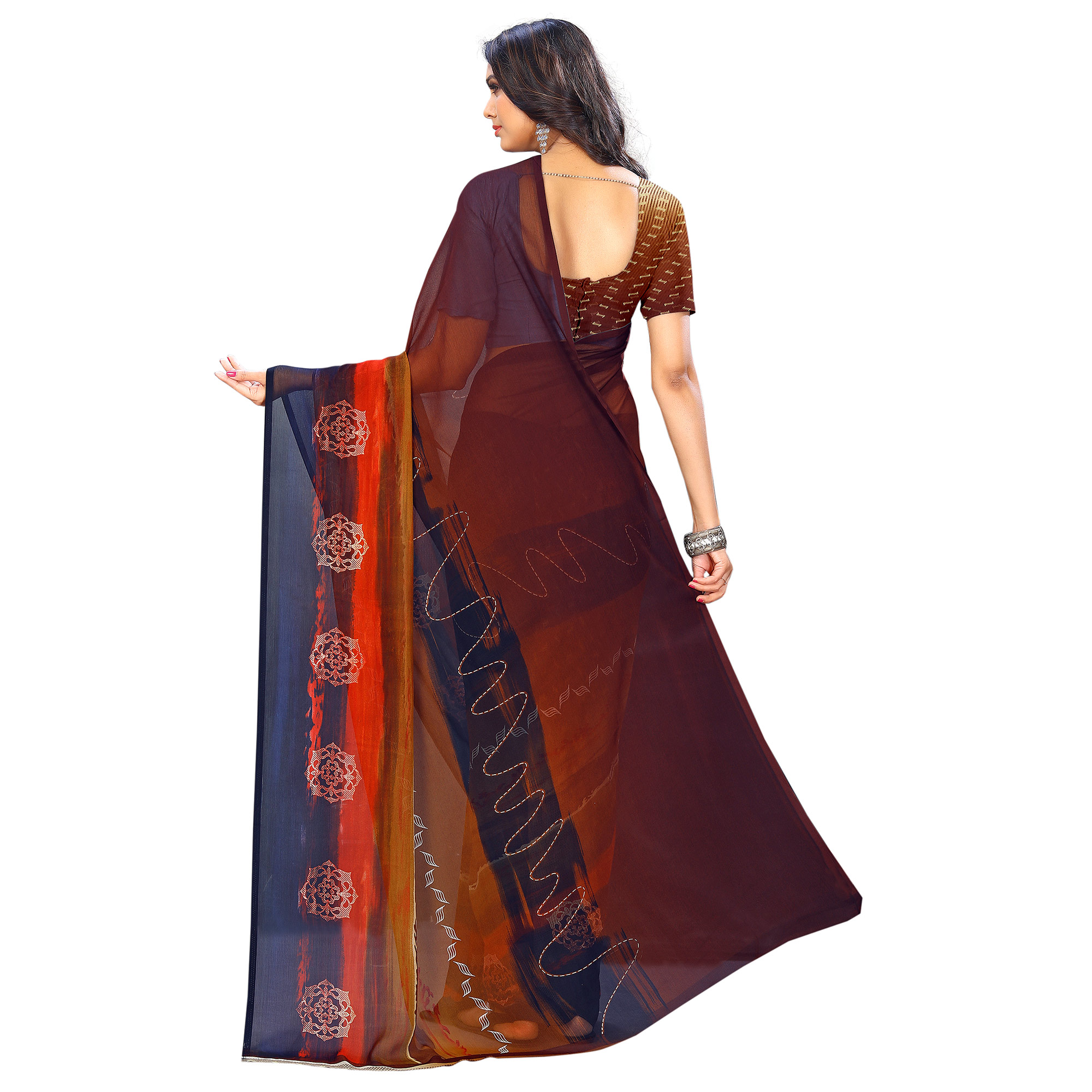 Gleaming Brown-Multi Colored Casual Wear Printed Chiffon Saree