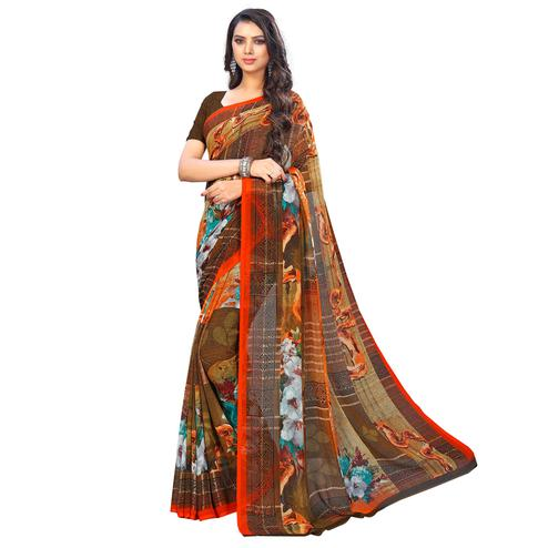 Unique Brown Colored Casual Wear Printed Chiffon Saree